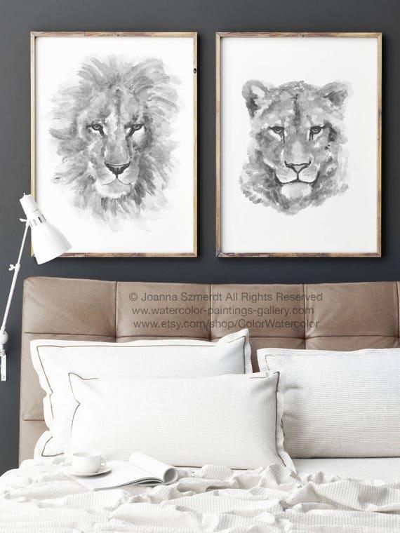 Löwe Löwin Illustration Schwarz Weiß Zeichnung Minimalistisch | Etsy