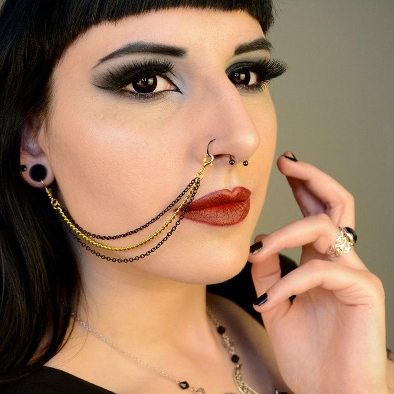 Triple Black /& Gold Nose  Lip To Ear Chain