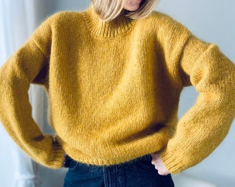 Very Warm, Oversize Mohair & Cashmere Sweater, color  Green 8