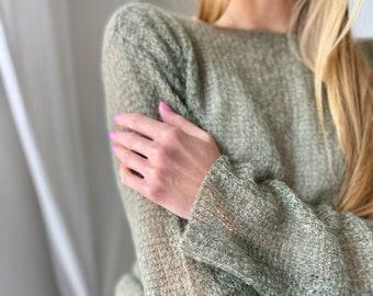 new color olive branch, Mohair Sweater, Wedding, knit sweater,  Women,  long sleeves, Italian yarn, handmade sweater