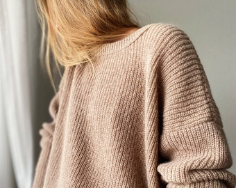 Cashmere Sweater Oversized Very light warm and fluffy / Women sweater made in Ukraine of cashmere, wool and acrylic.