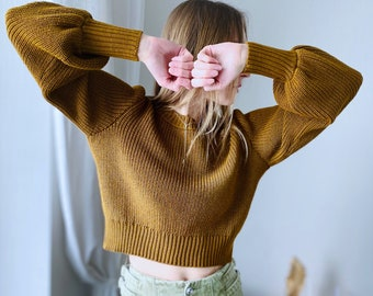 Crop western button top, Crop Top Sweater with Balloon Sleeves, Merino Wool Sweater