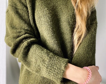 Olive branch,  Alpaca Sweater Women, Perfect for timeless knitwear, Cozy Sweater, Hand Knit Sweater, Chunky Sweater, Boat Neck