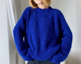 Royal blue, oversized sweater,  cashmere sweater, Organic yarn, Very light warm