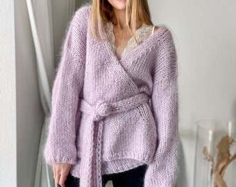 Lavender 275, Chunky Hand knitted Oversize Mohair Cardigan, kimono, jumper woman, eco yarn