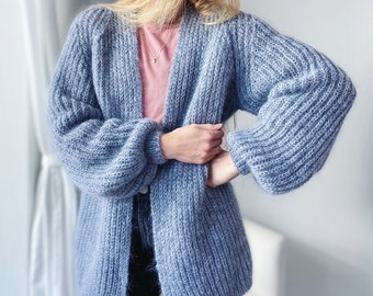 Handknitted cashmere oversize cardigan, Crochet, Chunky knit sweater, Mohair Cardigan, mohair sweater,  cashmere cardigan