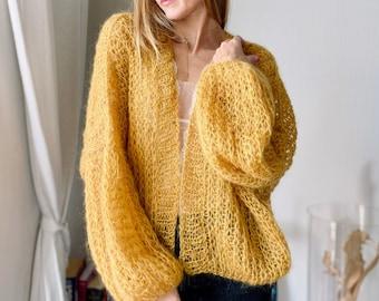 Wedding Cardigan Hand knit, Mustard 02, oversized ,eco yarn, Mohair Cardigan Women  Sweater Knitted Coat  Bridall