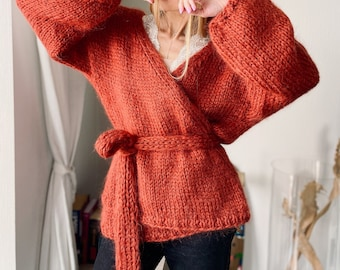 Terracotta 36, Chunky Hand knitted Oversize Mohair Cardigan, kimono, jumper woman, sweater, cashmere mohair