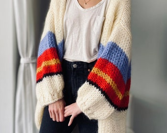 Hand knit oversize woman sweater, Cardigan Oversize Mohair & Cashmere