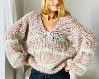 Hand knit oversize woman sweater, Mohair & Cashmere Sweater balloon sleeve on order in any color