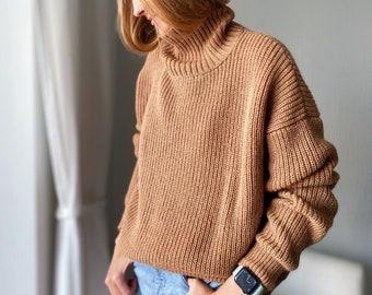 Cashmere Sweater, Oversized Sweater, Cozy Hand Knit Sweater, Turtleneck, Light Beige Sweater, Merino Wool Sweater, Fluffy Sweater