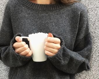 Dark Gray Alpaca Sweater Women, Cozy Sweater, Cashmere, Organic Wool Sweater