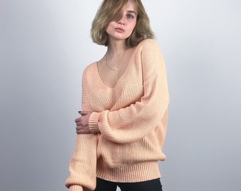 7c6c75ab4e2264 Peach Colored Loose Knit Sweater. Organic Sweater  100% Cotton. Light Pink  Loose Sweater - Best Gift for Her. Hand Knit Sweater   Pullover