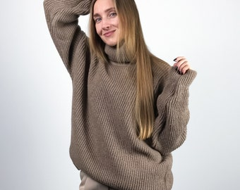 Cashmere Sweater, Oversized Sweater, Cozy Hand Knit Sweater, Turtleneck,  Beige Sweater, Merino Wool Sweater, Fluffy Sweater