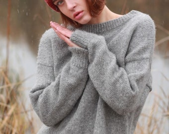 Boat Neck Sweater, Gray Alpaca Sweater Women, Cozy Sweater, Asymmetrical Sweater, Organic Wool Sweater, Minimalist Sweater