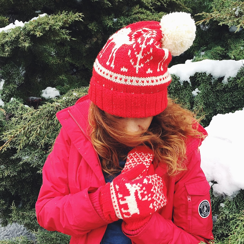 Chunky Knit Hat and Mittens Set Wool Beanie Hat Crochet image 0