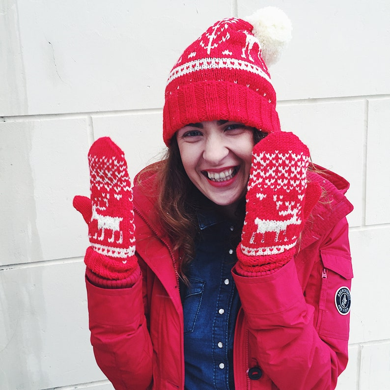 Crochet Christmas Mittens Adult Mittens Knit Mittens for image 0