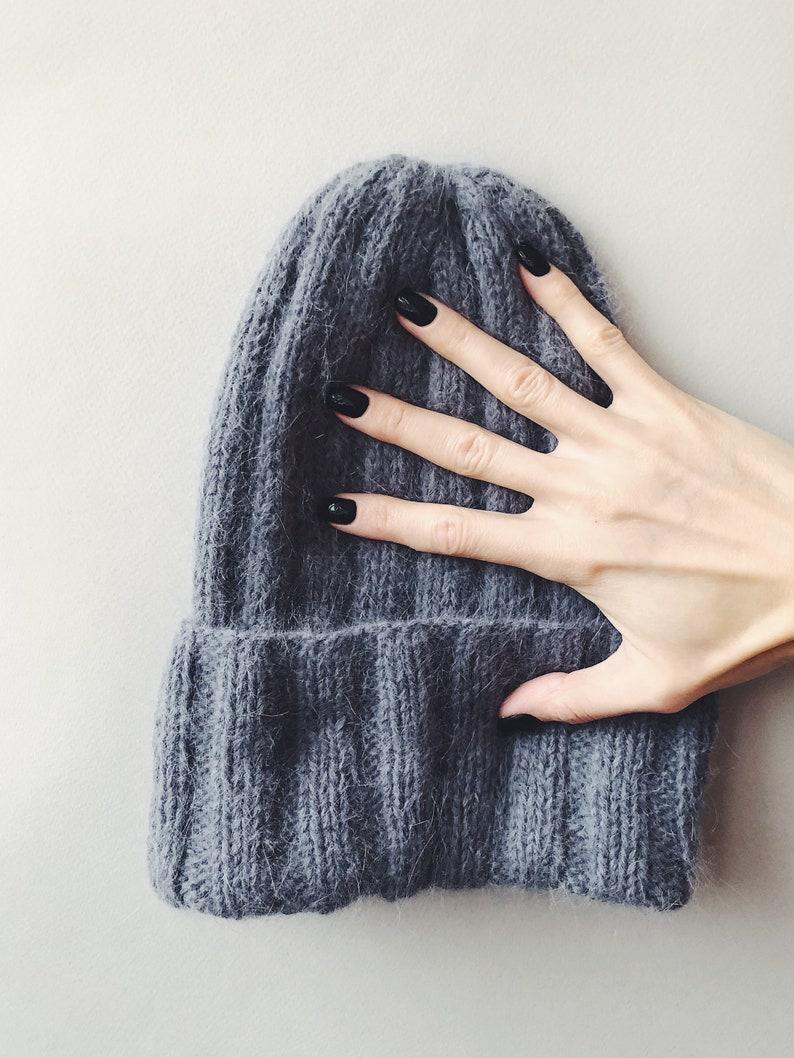 Hand Knit Angora Hat 80% Angora Beanie Fluffy Hat Gray Wool 14 Gray