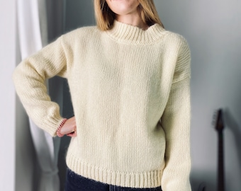 Cream 01, Chunky knit sweater, Hand knitted, Oversize Mohair sweater, fisherman sweater, jumper woman, long sleeves, natural