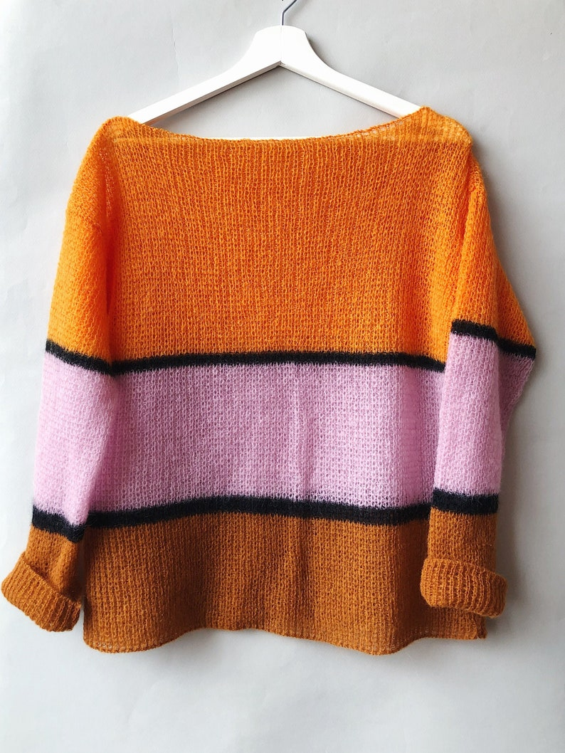 Mohair Sheer Sweater Colorful Sweater Summer Sweater Loose image 0