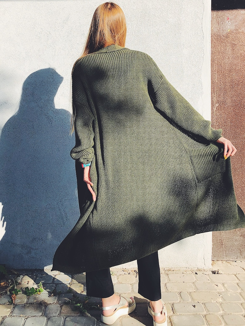 Olive Green Long Knit Cardigan Chunky Long Cardigan Cashmere 2