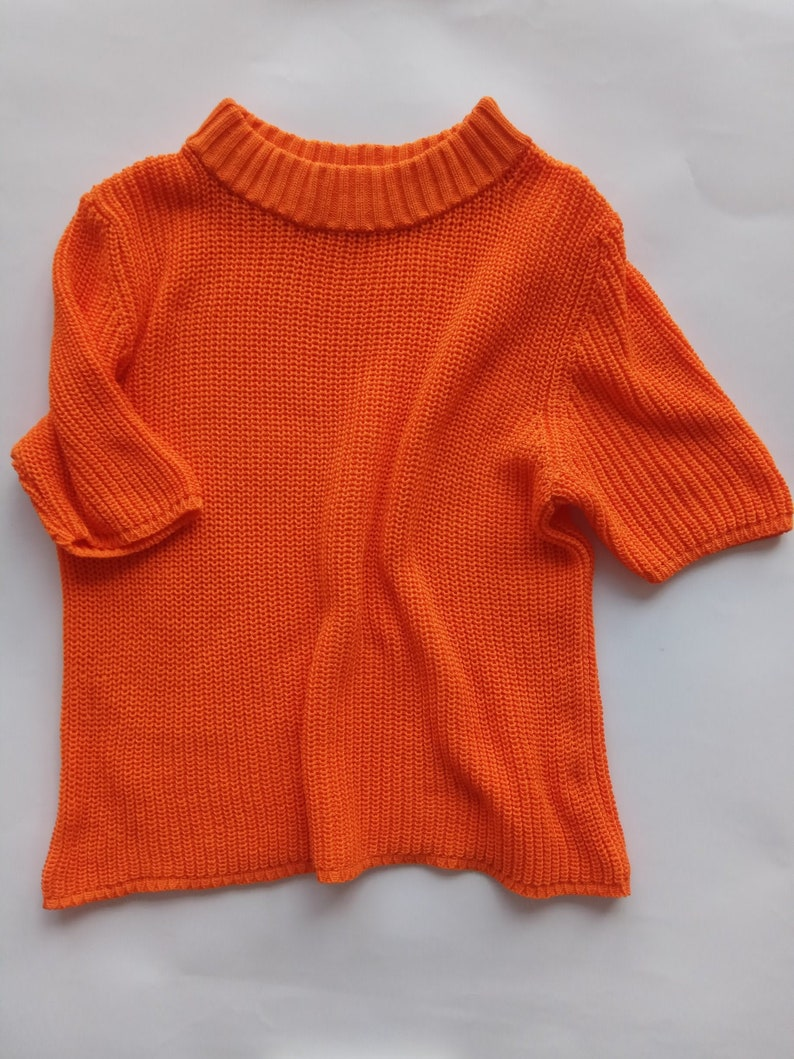 Knitted Crop Top for Summer Outfits Orange Knit Tee Cotton image 0