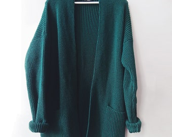 Green Wool Cardigan, Cashmere Sweater for Spring Outfits, Merino Wool Cardigan, Cozy and Warm Cashmere Cardigan, Oversized Cardigan