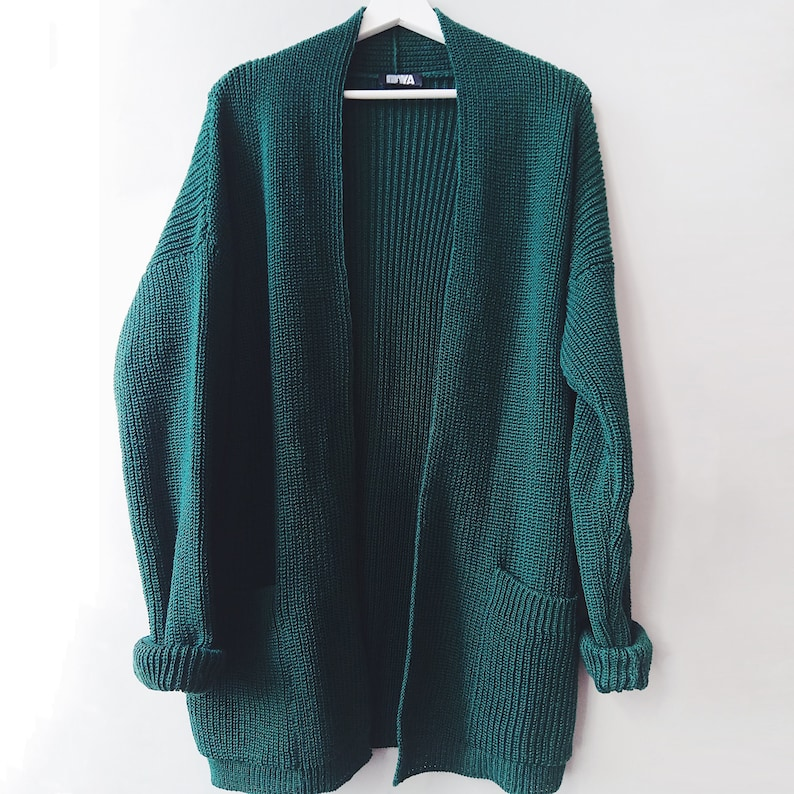 Green Wool Cardigan Cashmere Sweater for Spring Outfits 5 Dark-green