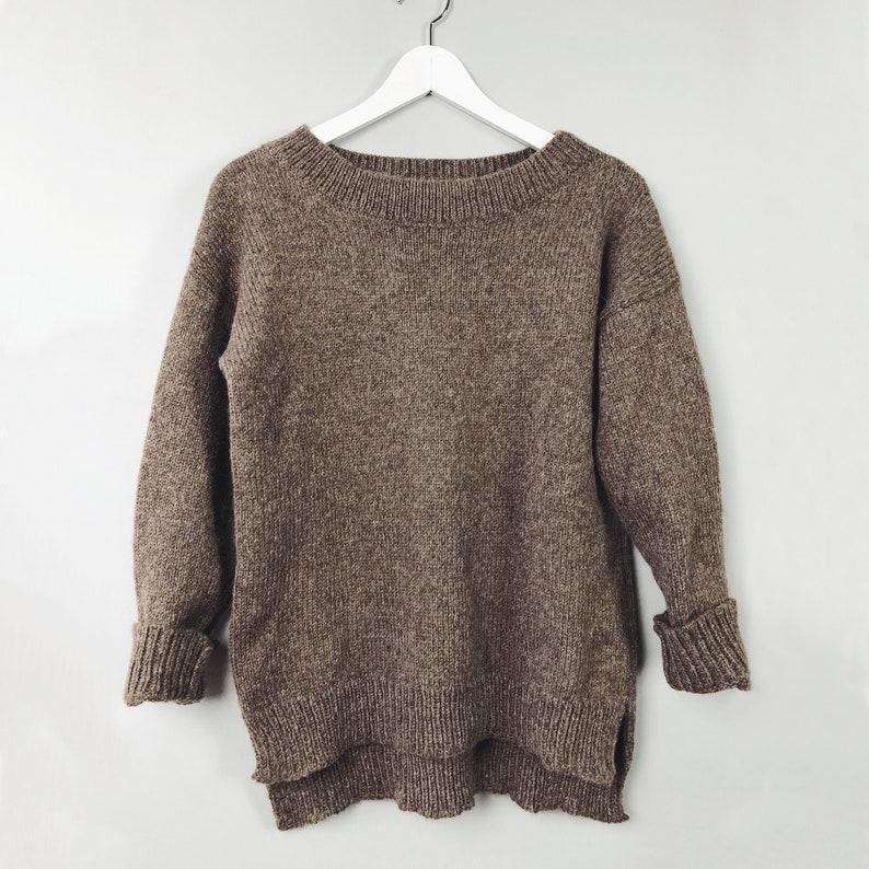 Brown Alpaca Sweater Women Cozy Sweater Hand Knit Sweater image 0