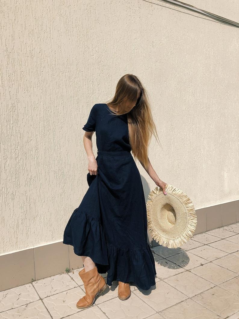 Natural Linen Dress Dark Blue Dress Bohemian Maxi Dress image 0