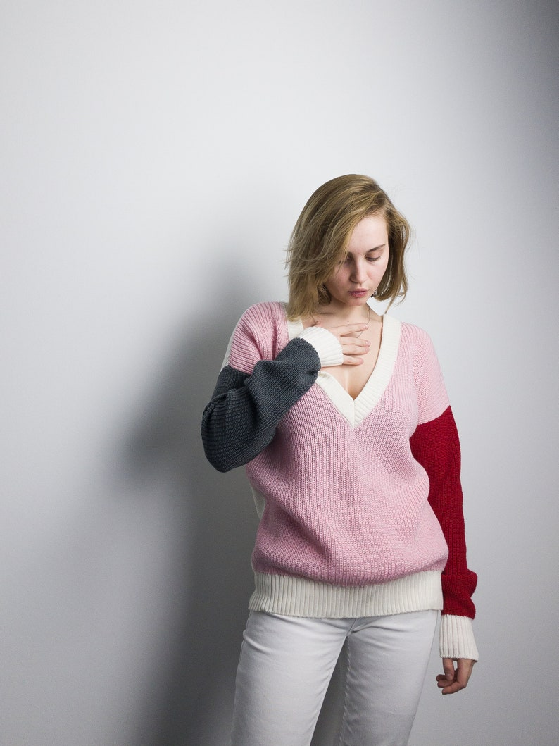 Color Block Loose Knit Sweater  Gift for Her Merino Wool image 0