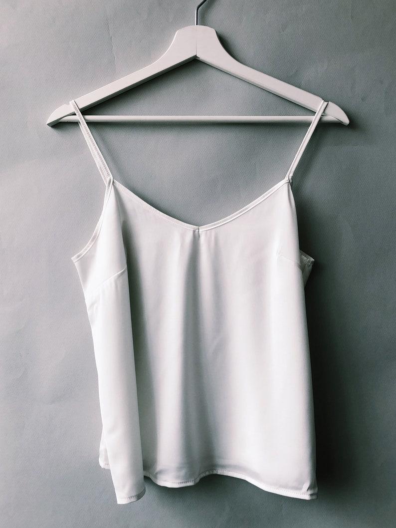 Milky White Silk Tank Top Satin Tank Top Silk Top Bridal image 0