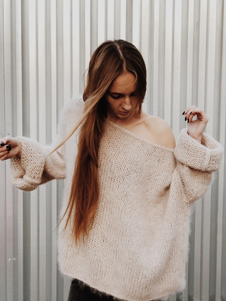 Loose Knit Sweater Mohair Sweater Cozy Sweater Chunky Knit 13 Light-beige