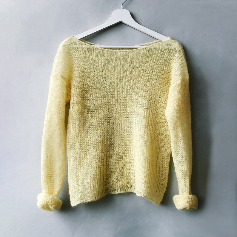 Yellow Sheer Sweater Mohair Pullover Summer Sweater Sexy 141 light-yellow
