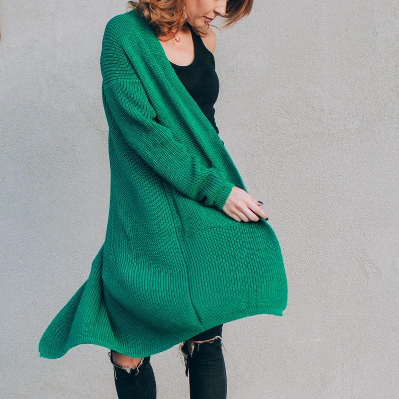 Chunky Knit Cardigan Green Wool Cardigan Loose Knit Sweater image 0