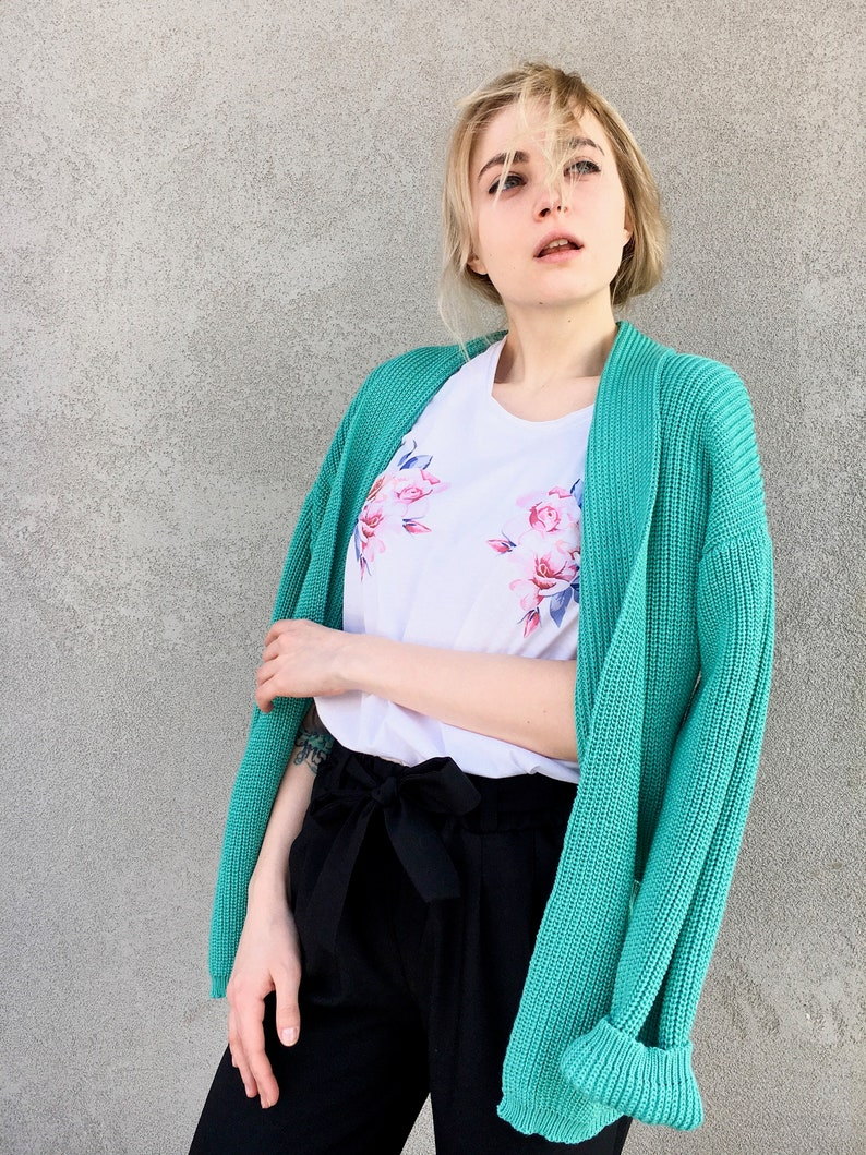 Mint Green Chunky Knit Cardigan Hand Knit Sweater Short image 0