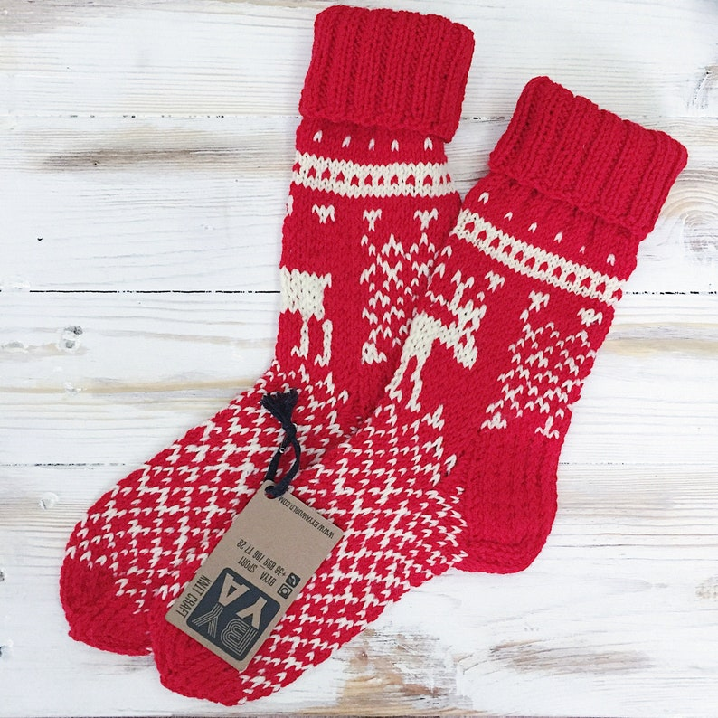 Crochet Christmas Deer Socks Merino Wool Socks Christmas image 0