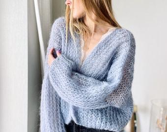 Wedding Cardigan Hand knit, Blue grey 21, oversized , Mohair Cardigan Women, Loose Knit Jumper, Minimalist Clothing