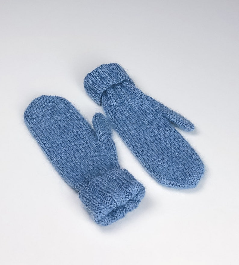 Wool Mittens Cute and Fluffy Light-Blue Mohair Mittens Adult image 0