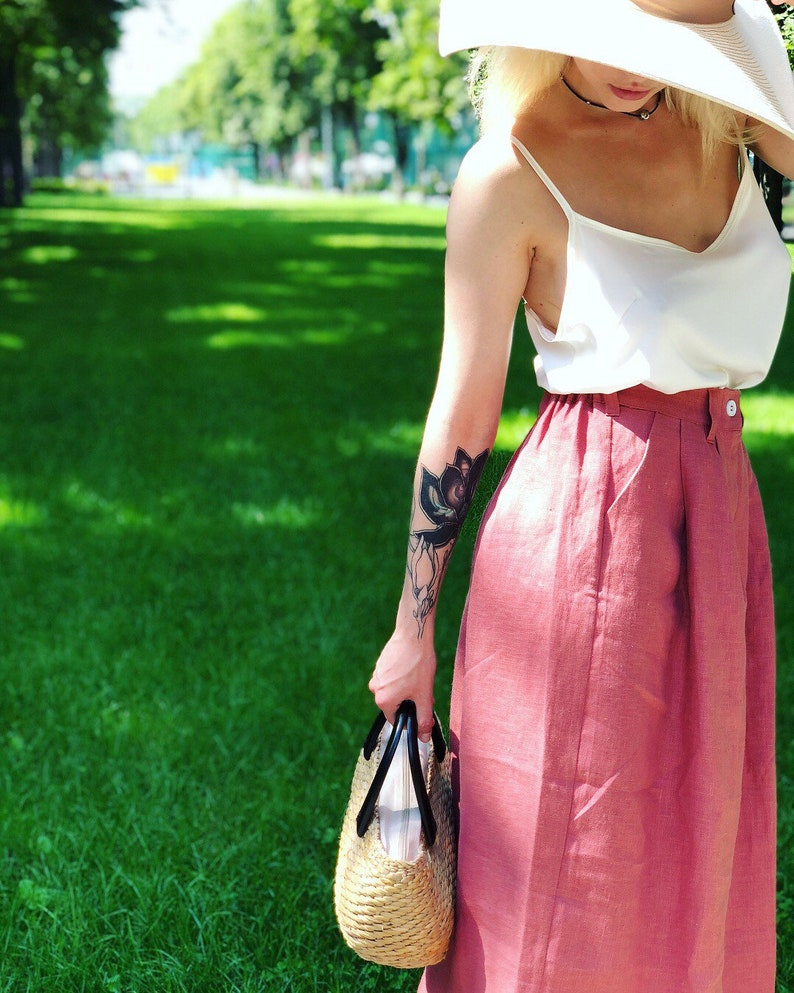 A Line Skirt A Line Linen Skirt in Boho Style Linen Clothing Old Rose Linen Boho Skirt A Line Midi Skirt made of 100/% Organic Linen
