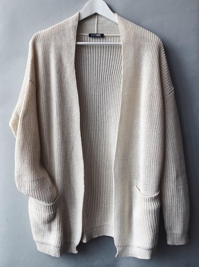 Mint Green Chunky Knit Cardigan Hand Knit Sweater Short image 0