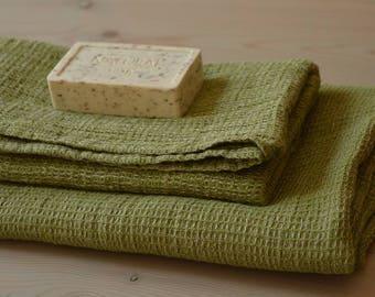 Moss Green Melange LINEN Waffle Towel, Bath Towel, Hand Towel, Linen Towel