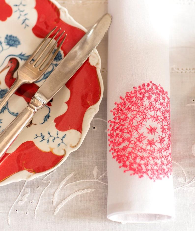 Stars Embroidery on 40x40cm white napkin 100% cotton per set image 0