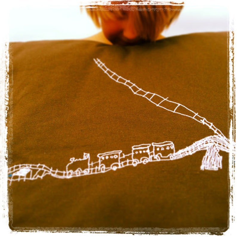 Child's drawing embroidered pillowcase image 0