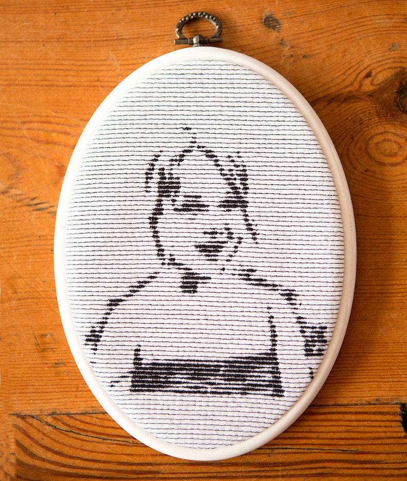 Embroidered framed portret image 0