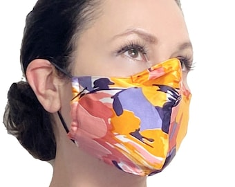 Floral Silk Face Mask with Nose Wire and Filter Pocket - Sensitive Skin Satin Face Mask - Teacher Face Mask - Reusable Face Mask Covermask