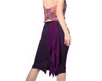 a350c6b44 Purple Argentine tango skirt with bustle. Two tone tight sexy midi skirt.  Stretch skirt for milonga dancing. Elegant pencil skirt with slit
