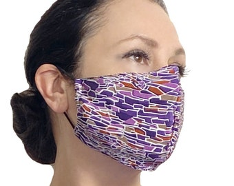 Purple Abstract  Silk Face Mask with Nose Wire and Filter Pocket - Aesthetic Face Mask - Teacher Face Mask - Reusable Face Mask Covermask