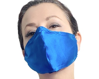 Blue Silk Face Mask with Nose Wire and Filter Pocket - Satin Face Mask for Sensitive Skin - Teacher Face Mask - Reusable Face Mask Covermask