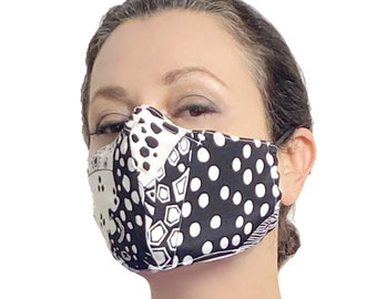 Black and White Silk Face Mask with Nose Wire and Filter Pocket - Aesthetic Face Mask - Teacher Face Mask - Reusable Face Mask Covermask